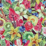 Watercolor Natural Seamless Background  with Fruits - stock illustration
