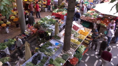 Fruit stall at Funchal Workers Market, Madeira, Portugal Stock Footage