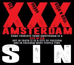 Tee graphic Amsterdam City Typography Slogan and Poster Design - stock illustration
