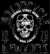 T shirt skull motorcycle graphic design Stock Illustration