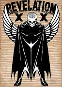 Tee graphic skull super hero man white background Stock Illustration