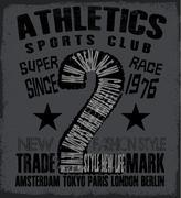 athletic sport tee graphic - stock illustration