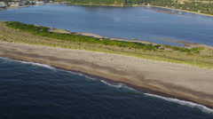 Aerial shot Siletz Bay, Lincoln City, Oregon Stock Footage
