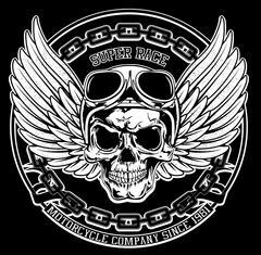 Vintage Biker Skull Emblem Tee Graphic - stock illustration