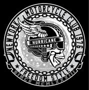 Vintage Biker Skull Emblem Stock Illustration