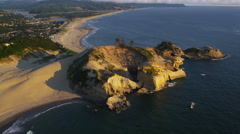 Aerial view of Cape Kiwanda, Pacific City Oregon Stock Footage