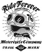 Tee Vintage Motorbike Race | Hand drawing | T-shirt Printing | Badge Applique Stock Illustration