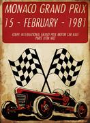 vintage race car for printing.vector old school race poster.retro race car se - stock illustration