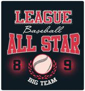 Baseball All-Star Logo Tee Graphic Design - stock illustration