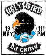 Vintage thin line raven label. Crow symbol. Retro vector design graphic eleme - stock illustration