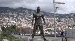 Statue of Cristiano Ronaldo Funchal, Madeira, Portugal Stock Footage