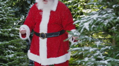 Slow motion, Santa Claus dancing and throwing snow - stock footage