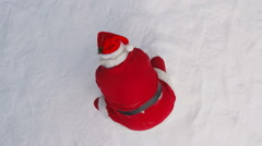 Santa Claus throws snow into air, slow motion Stock Footage