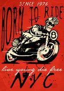 Motorcycle illustration tee shirt graphic design Stock Illustration