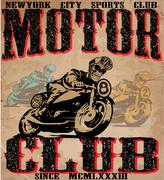 Motorcycle illustration tee shirt graphic design Stock Illustration