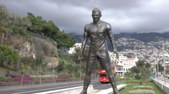 Statue of Cristiano Ronaldo in Funchal, Madeira, Portugal Stock Footage