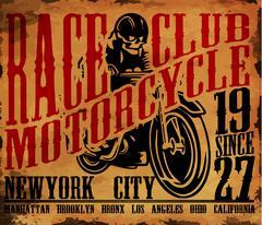 Motorcycle T shirt graphic design. - stock illustration