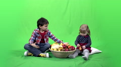 Children, fruits and green screen 4k ProRes, 4.2.2 Stock Footage