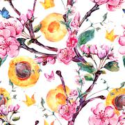 Watercolor seamless pattern with fruits and flowers apricot tree Stock Illustration