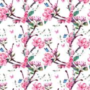 Watercolor seamless pattern with flowers apricot tree branches - stock illustration
