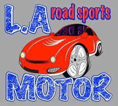 Sport car illustration, t-shirt illustration, sport, boys Stock Illustration