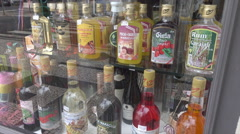 Bottles of Madeiran wines and spirits in shop window, Madeira, Portugal Stock Footage