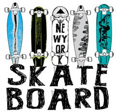 Skate board typography, t-shirt graphics, vectors Stock Illustration