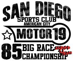 Stock Illustration of Athletic sport america san diego typography, t-shirt graphics, vectors