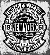 Vintage New York typography, t-shirt graphics, vectors - stock illustration