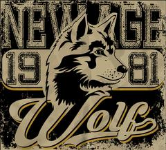 Retro wolf mascot athletic design complete with wolf  illustration, vintage a Stock Illustration