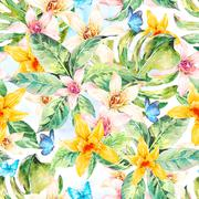 Natural leaves watercolor seamless pattern, flower orchid - stock illustration
