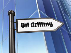 Manufacuring concept: sign Oil Drilling on Building background - stock illustration
