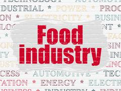 Industry concept: Food Industry on wall background Stock Illustration