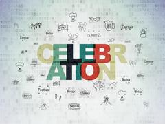 Holiday concept: Celebration on Digital Paper background Stock Illustration