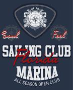 Sailing poster design template Stock Illustration
