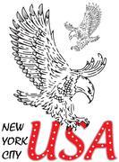 Eagle tee graphic design Stock Illustration