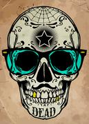 skull illustration / a mark of the danger warning / T-shirt graphics / cool s - stock illustration