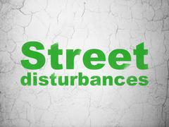 Politics concept: Street Disturbances on wall background - stock illustration