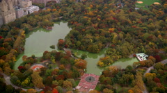 Central park in Autumn color, aerial shot Stock Footage