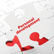 Education concept: Personal Development on puzzle background Stock Illustration