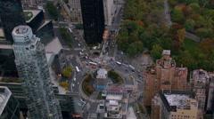 Aerial shot of Columbus Circle, New York City Stock Footage