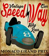 Vintage race car for printing.vector old school race poster.retro race car se Stock Illustration
