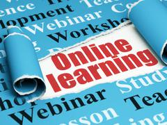 Studying concept: red text Online Learning under the piece of  torn paper - stock illustration