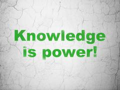 Education concept: Knowledge Is power! on wall background Stock Illustration