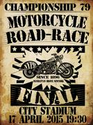Vintage Motorcycle T-shirt Graphic - stock illustration