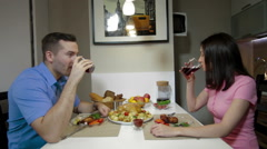 Young couple having a dinner together Stock Footage