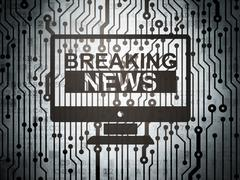 News concept: circuit board with Breaking News On Screen Stock Illustration