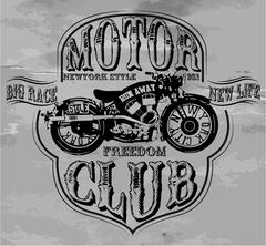 Vintage Motorcycle T-shirt Graphic Stock Illustration