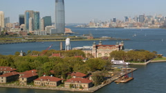 Aerial view of Ellis Island Stock Footage