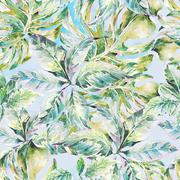 Summer exotic watercolor seamless pattern Stock Illustration
